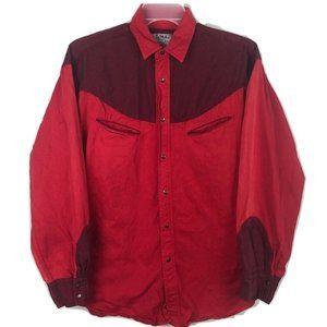 Larry Mahan Western Shirt Metal Snap Button Red L
